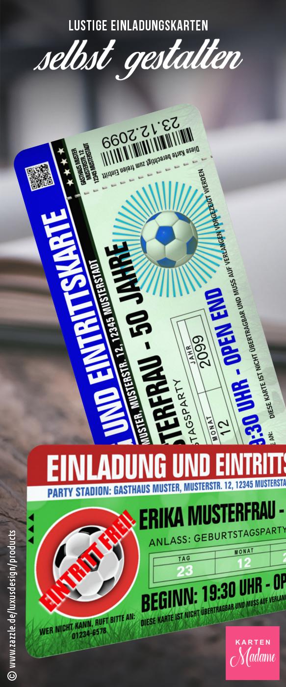 Lustige Einladungskarten zum Geburtstag als Ticket FUSSBALL