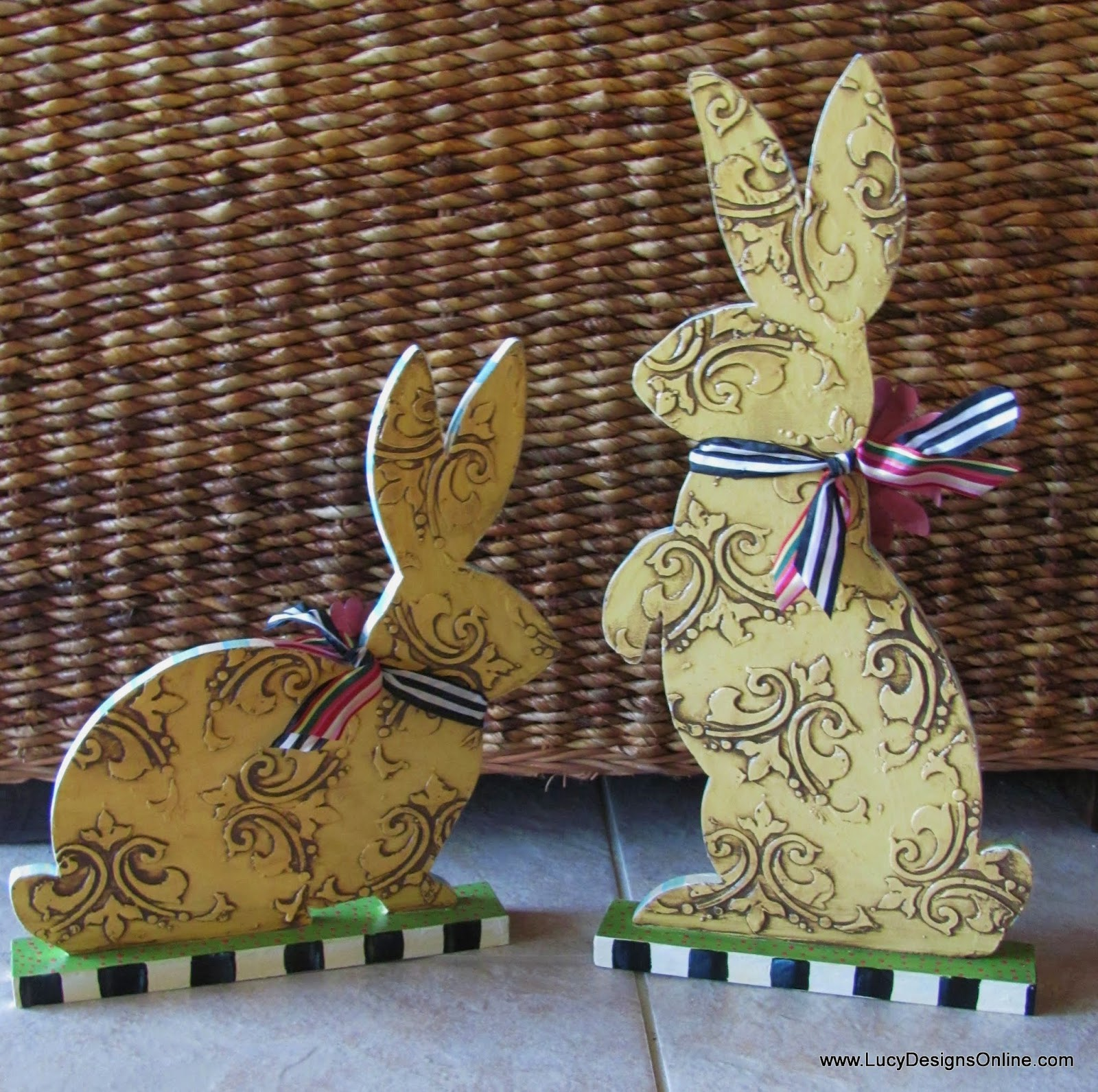 textured damask designs bunny easter decor