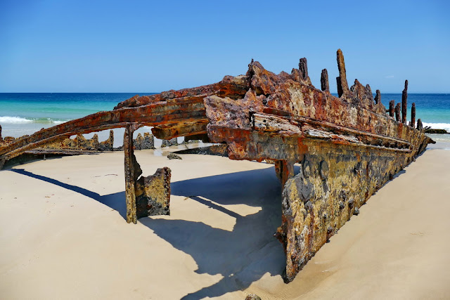 Bulwer Wrecks Schiffs-Wracks Moreton Island Strand schiffsrumpf Rost verrostet