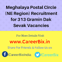 Meghalaya Postal Circle (NE Region) Recruitment for 313 Gramin Dak Sevak Vacancies