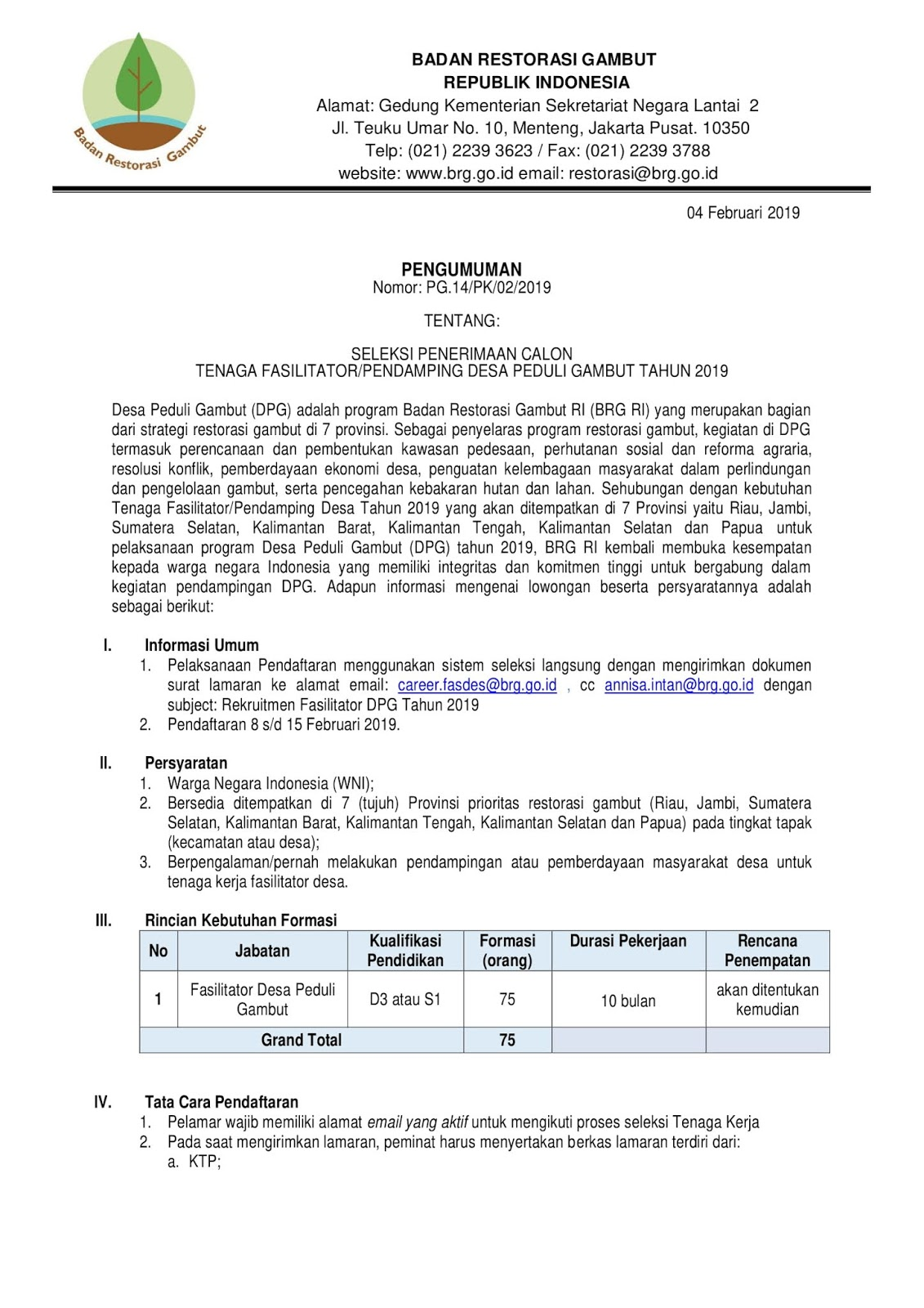Lowongan Kerja Badan Restorasi Gambut Republik Indonesia (75 Orang)