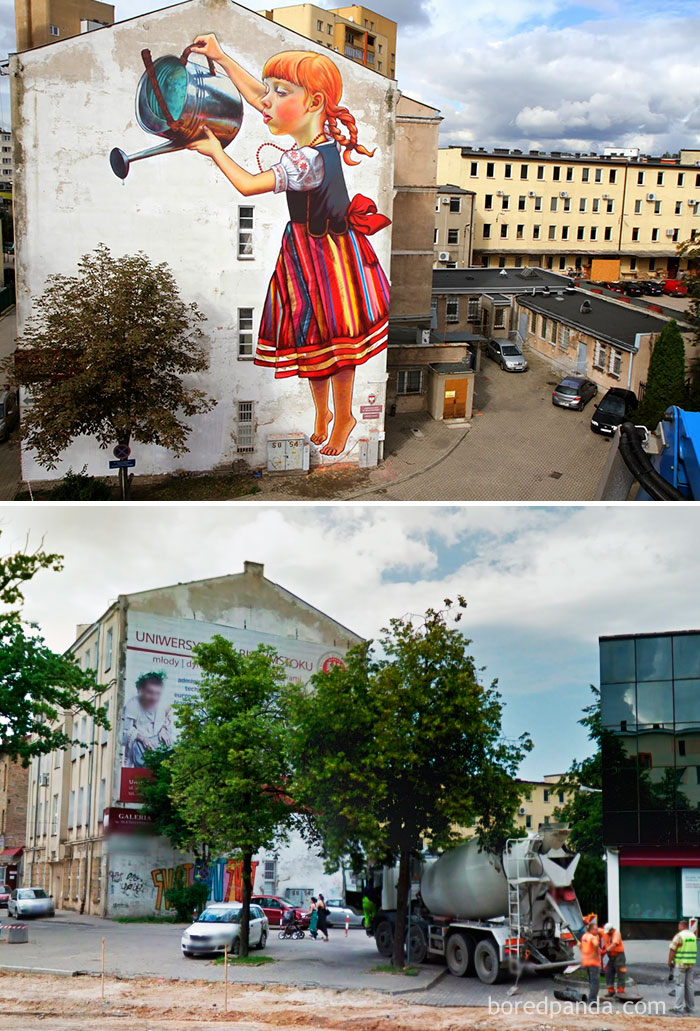 10+ Incredible Before & After Street Art Transformations That'll Make You Say Wow - Lets Keep The Plants Alive, Bialystok, Poland