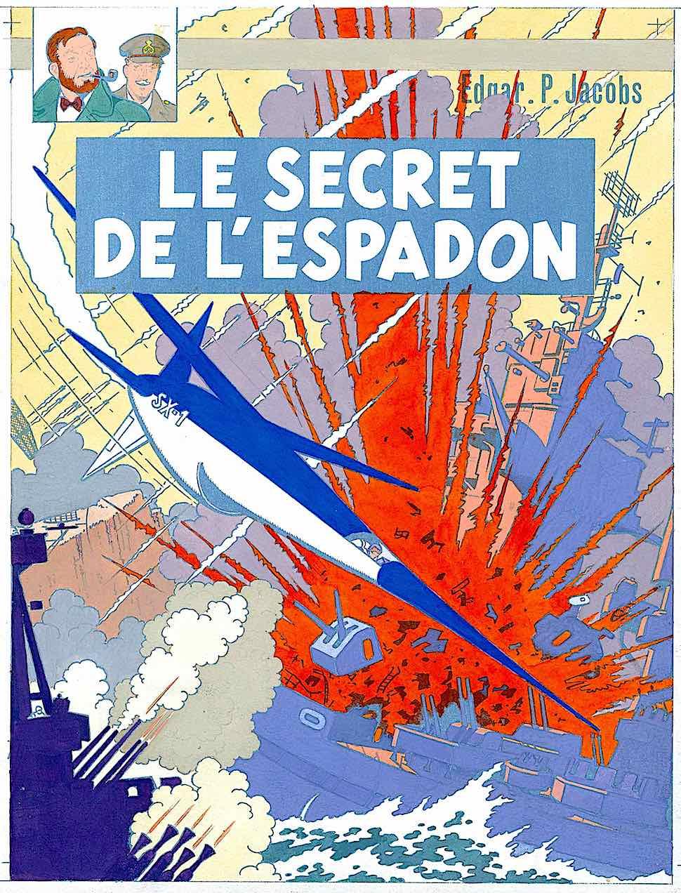 Edgar P. Jacobs comic art, a red explosion