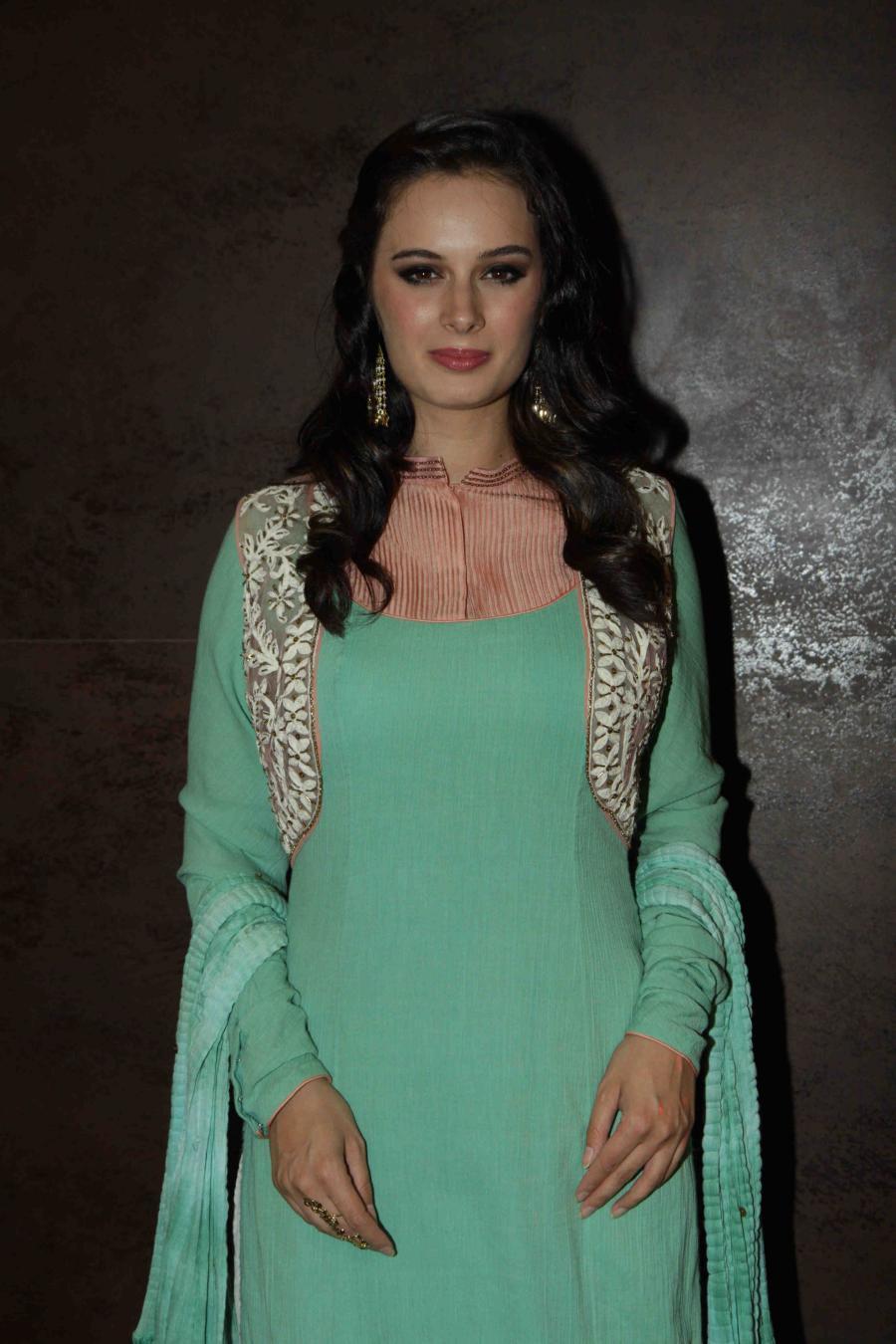 Bollywood Model Long Legs In Green Dress Evelyn sharma