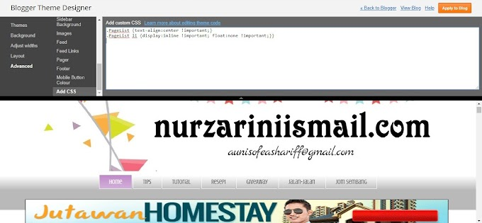 Cara Letak Tab Pages di Tengah Blog Menggunakan CSS