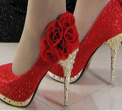 red sequinned bridal footwear