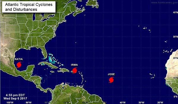 Irma, Katia y José, tres huracanes en el Atlántico