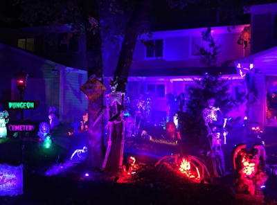 Incredible graveyard Halloween scene