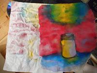 Tela pintada para usar en encuadernacion