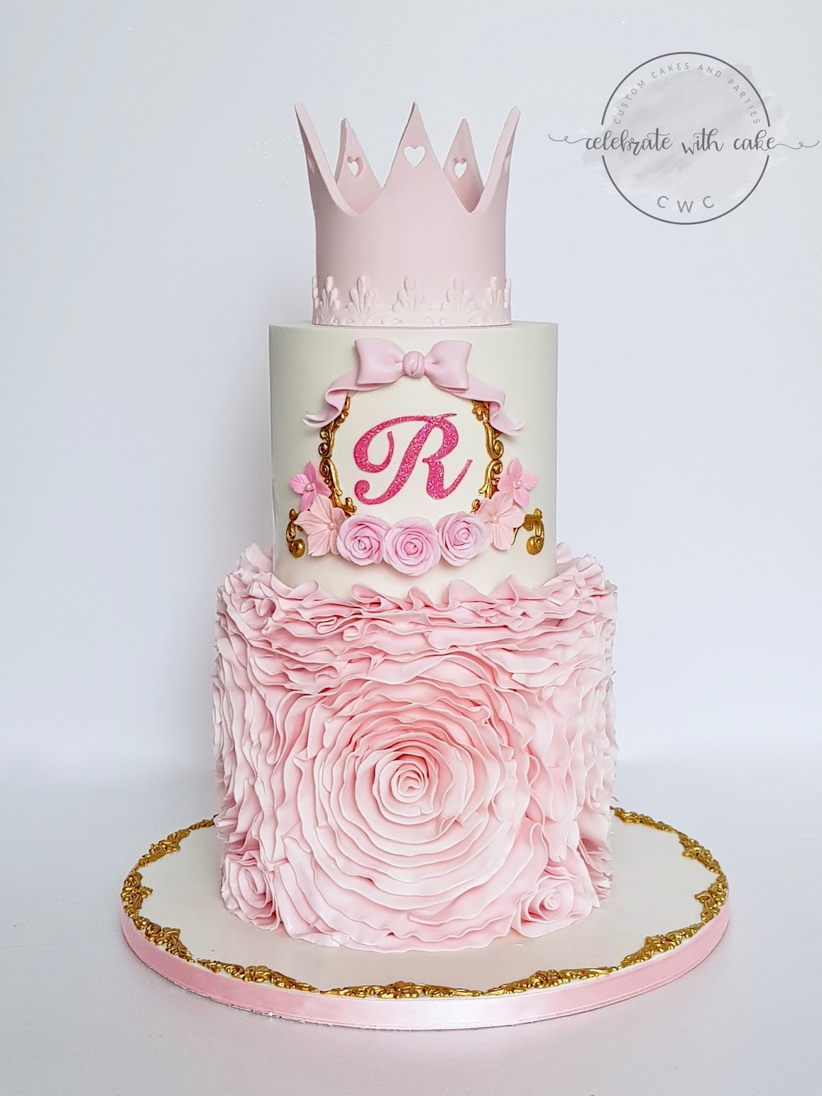 Wondrous Celebrate With Cake Princess Floral Ruffles 2 Tiers 1St Birthday Funny Birthday Cards Online Aeocydamsfinfo