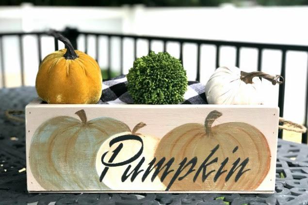 DIY Hand Painted Fall Pumpkin Crate