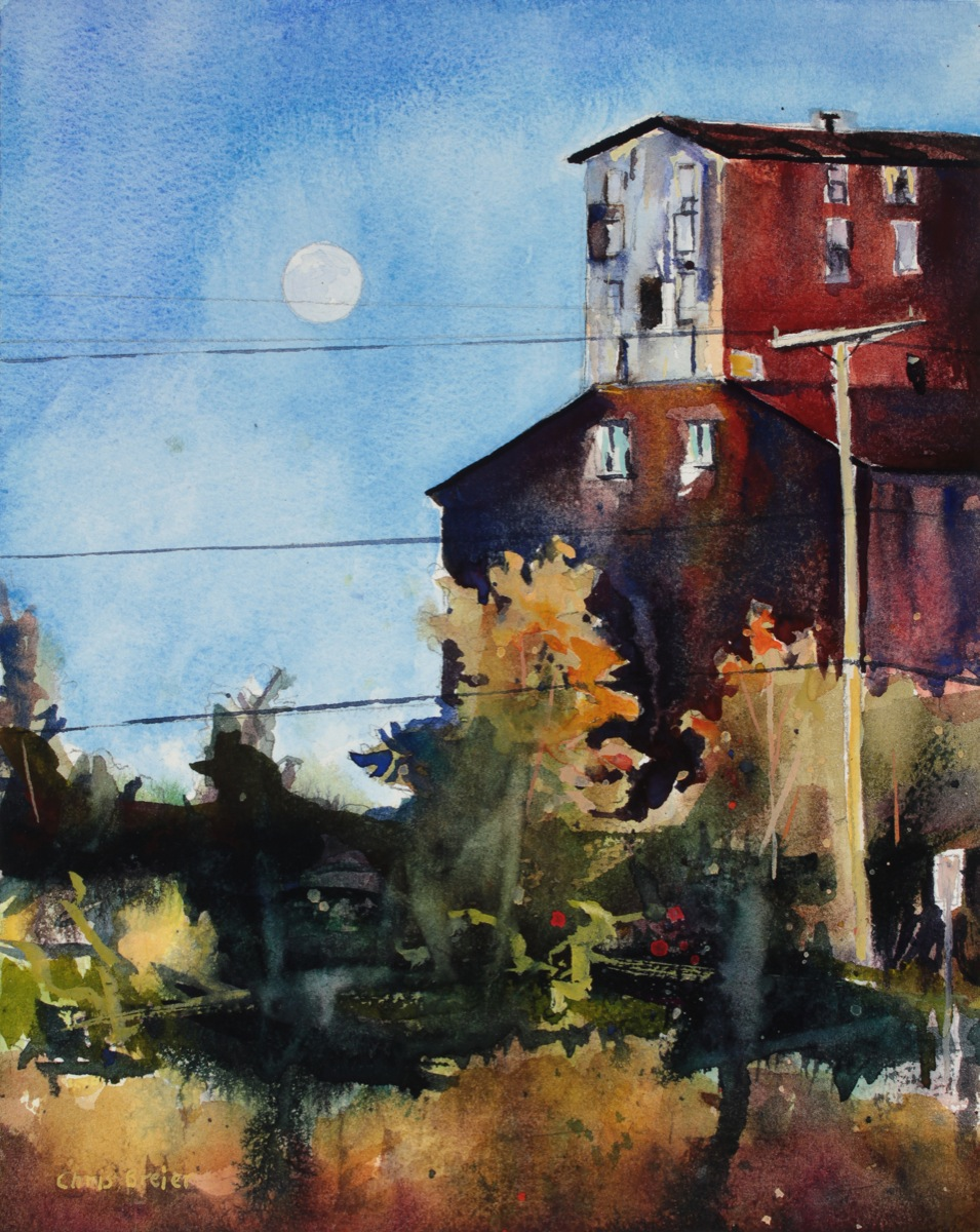 A watercolor painting of the Great Northern Grain Elevator in Buffalo NY
