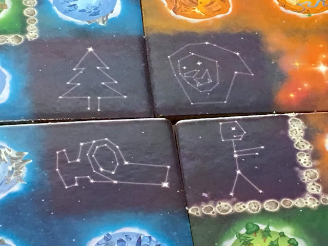 Constellations on Galaxy tiles for Kaosmos (Cosmic Factory) board game by Kane Klenko