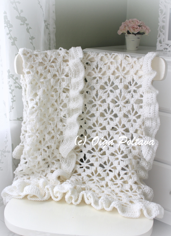 Lacy Crochet White Spider Lace Crochet Baby Blanket Or Christening