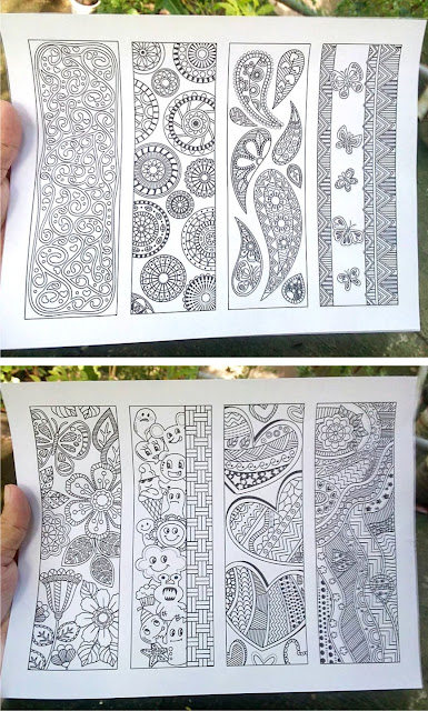 8 coloring bookmarks abstract design sample prints