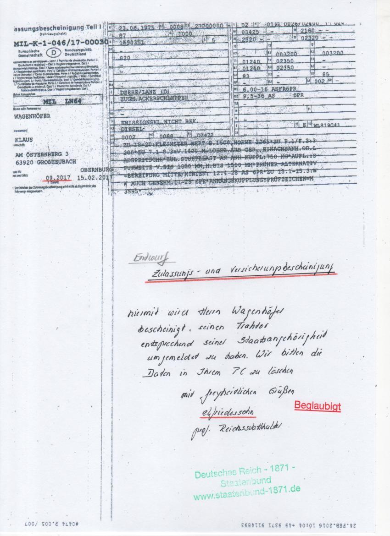 Excalibur: Wagenhöfer KfZ Ummeldung auf staatenbund-1871