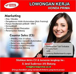 Lowongan Kerja Marketing, Counter Sales di Honda Prima Batang
