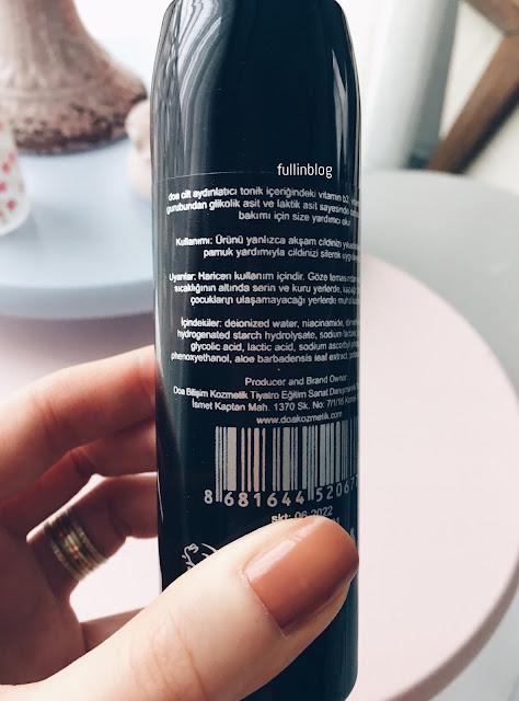 doa kozmetik aha cilt aydınlatıcı tonik içerik