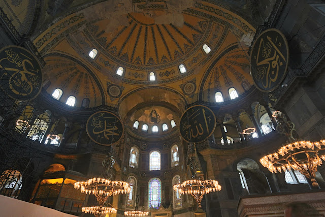 Full view of the artistic meeting of Islam and Christianity in Hagia Sophia at Sultanahmet in Istanbul, Turkey