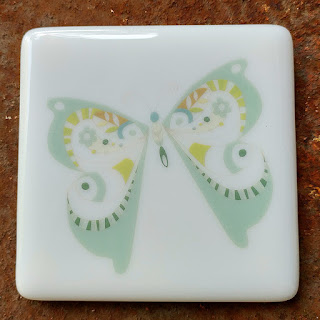 sassy glass studio fused glass coaster with butterfly