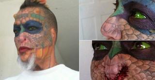 Mulher retira as orelhas e o nariz para ficar igual dragão