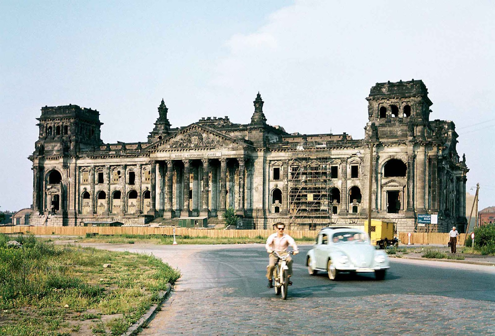 The restoration done in the 1950's was only minimal as the building could not be used as the seat of government for West Germany (the Reichstag was just at the Berlin Wall and West German politicians didn't want to have their seat of government in a tiny exclave in the East).