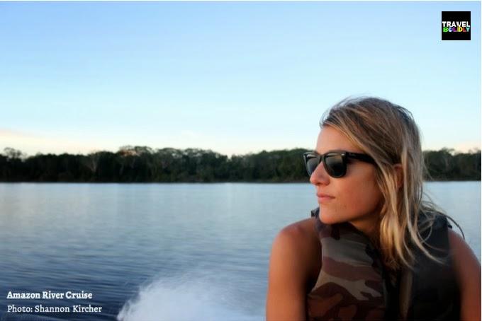 Shannon on the  Amazon River. Peruvian Honeymoon. Photo: Shannon Kircher for TravelBoldly.com