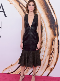 Alexa Chung in a black leather and lace Prabal Gurung dress at the 2016 CFDA Fashion Awards
