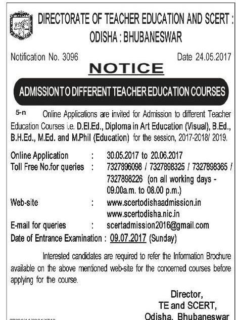 265201715853601 Online Application Form Of Odisha B Ed on