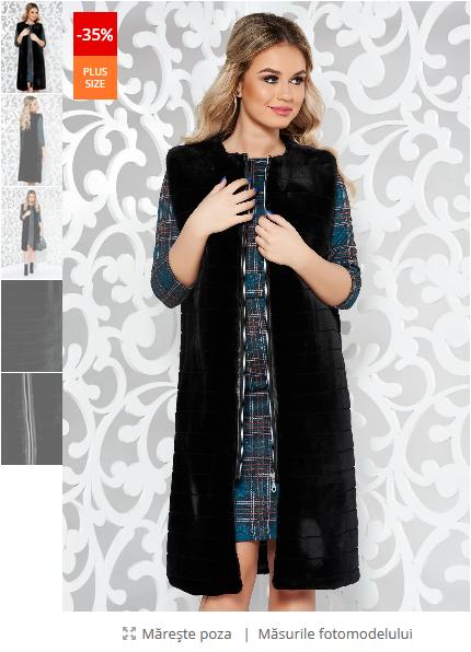 Vesta LaDonna negru casual din blana ecologica captusit pe interior