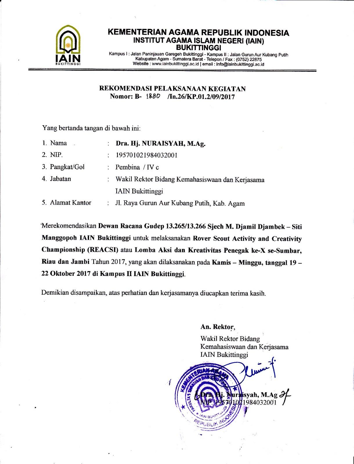 Surat Rekomendasi Pelaksanaan Kegiatan Reacsi X Racana Iain Bukitinggi
