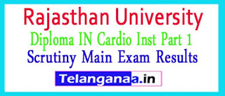 Rajasthan University Diploma IN Cardio Inst Part 1 Scrutiny Main Exam Results 2017