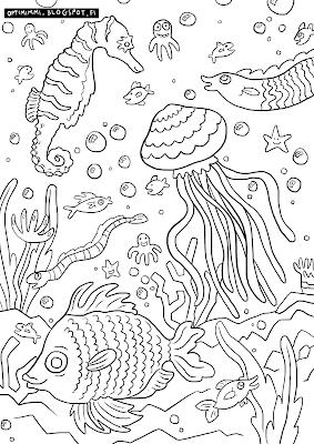A coloring page of fishes in the sea / Värityskuva kaloista meressä