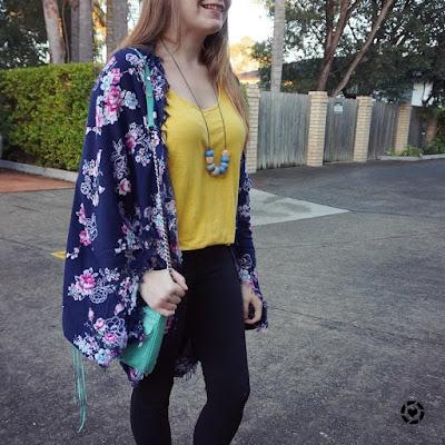 awayfromblue instagram mustard tank black jeans floral navya cocoon kimono