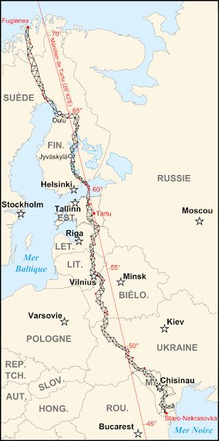 Χάρτης με το Γεωδαιτικό Τόξο Στρούβε. Τα κόκκινα σημεία δείχνουν τα Μνημεία Παγκόσμιας Πολιτιστικής Κληρονομιάς