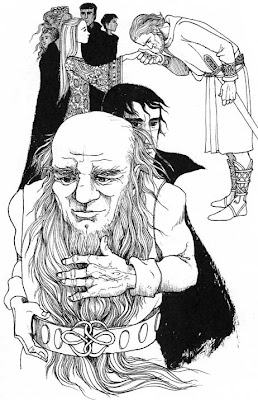Drawing of a dwarf with long beard