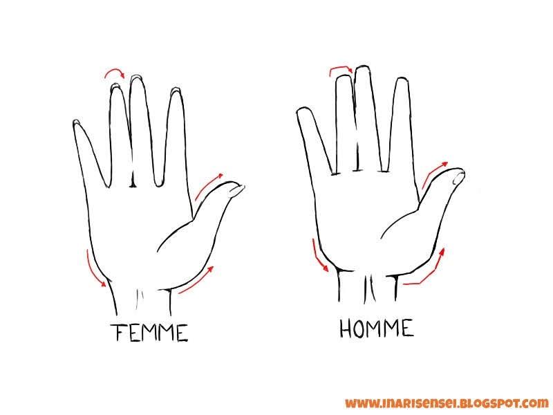 différence entre les mains d'un homme et d'une femme en manga