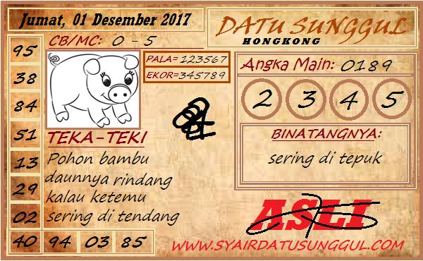 Syair HK Jumat 01-12-2017 - Syair SGP HK