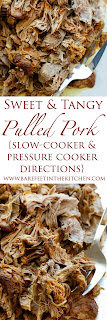Sweet and Tangy Pulled Pork is the perfect main dish for any occasion! get the recipe at barefeetinthekitchen.com