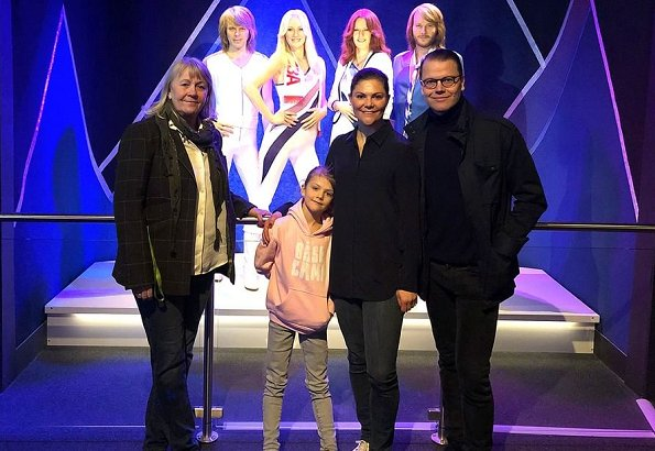 Crown Princess Victoria, Prince Daniel and Princess Estelle of Sweden visited ABBA The Museum in Stockholm