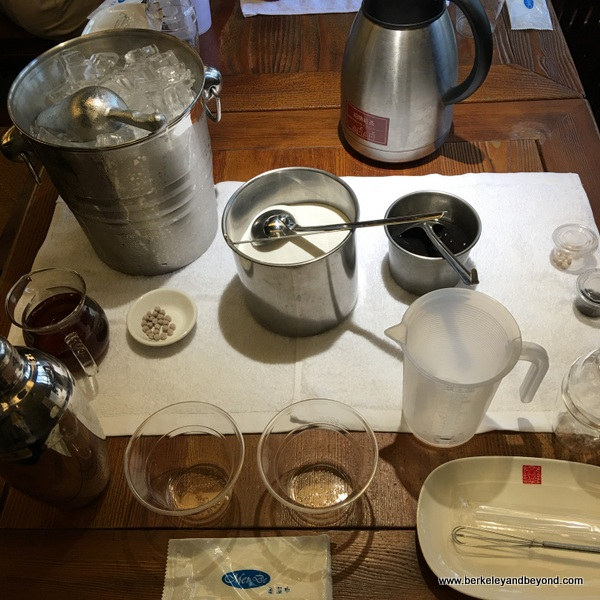 set-up for DIY boba tea at Chun Shui Tang Cultural Tea House in Taichung, Taiwan