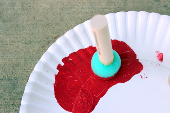 Here's a smaller size sponge for the red paint.