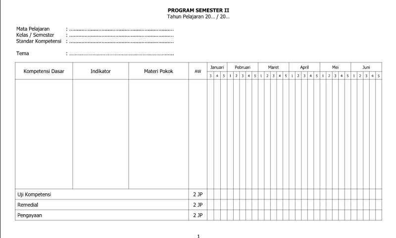 Referensi Contoh Program Semester II Part 1 untuk Administrasi Guru Wali Kelas