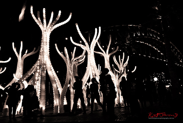 Black and white photo of Arclight (with Sydney harbour bridge in background) by Artists: Studio Workshop (Chris Knapp (Australia) / Jonathan Nelson (Australia)) + Matsys (Andrew Kudless (USA)). Vivid Sydney in black and white photography