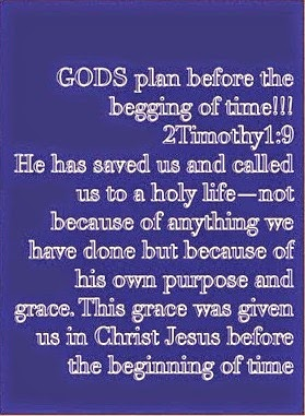 2 Timothy 1:9, GODS PLAN BEFORE THE BEGINNING OF TIME WAS TO SAVE US!!!