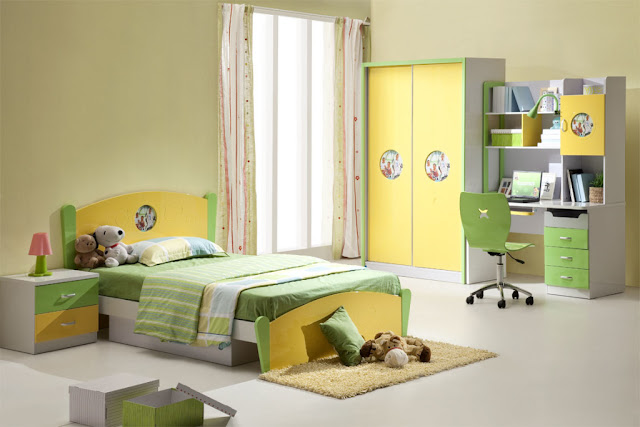 chambre fille jaune