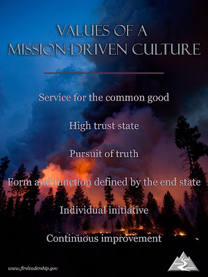 Values of a Mission-Driven Culture: Service for the common good, High trust state, Pursuit of truth, Form and function defined by the end state, Individual initiative, Continuous improvement