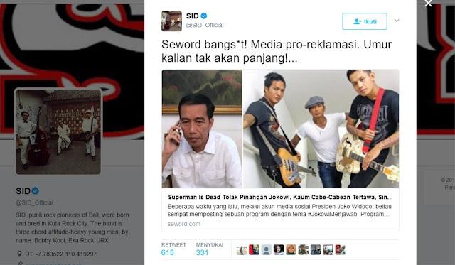 Di Anggap Melanggar HAM, Grup Band SID Tolak Tawaran Jokowi