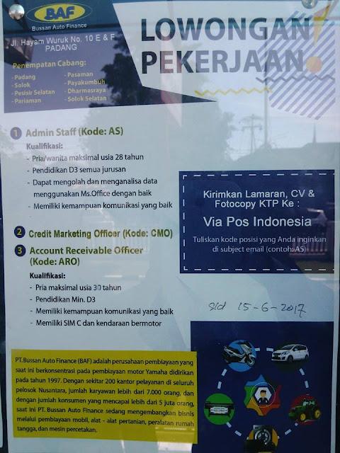 Lowongan Kerja Padang: PT. Bussan Auto Finance Juni 2017