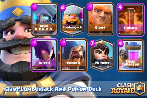 Deck Giant Lumberjack Poison Arena 8 9 clash royale